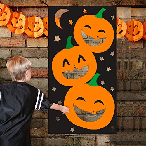 Lulu Home Halloween Toss Games, Pumpkin Bean Bag Party Games for Kids and Decorations with 3 Bean Bags