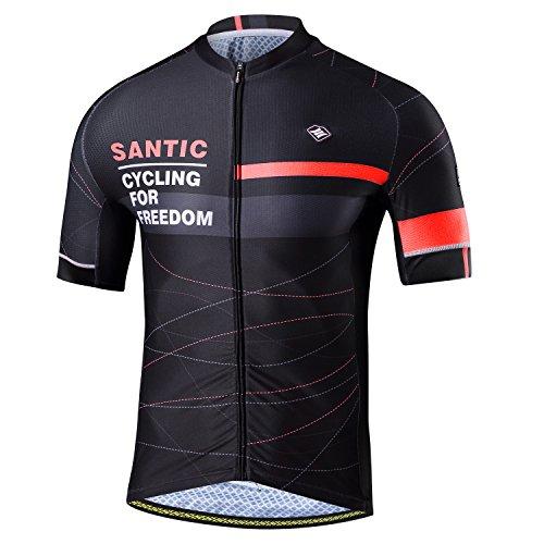 Santic Maillot Bicicleta Hombre, Maillot Ciclismo Hombre, Camiseta y Camisa de Ciclismo para Hombres con Mangas Cortas Rojo EU Talla XL