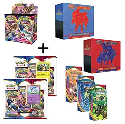 Pokemon Sword and Shield Booster Box, Both Elite Trainer & Blister Sets, All 3 Theme Decks by Pokemon