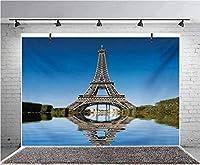 GooEoo 10x8ft パリの有名なエッフェル塔が水の写真の背景に反映されている子供の誕生日パーティーのバナー写真スタジオの小道具家族の誕生日の背景ベビーシャワービニール素材