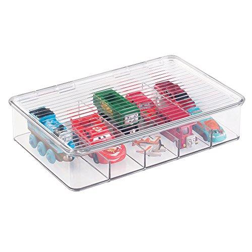 mDesign Organizador de Juguetes con Tapa - Cajas de almacenaje para Guardar Juguetes bajo la Cama o en Las estanterías de la habitación Infantil – Juguetero de plástico Transparente