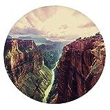 Tovaglia in poliestere con bordo elastico, vista del canyon con mistica linea lungo fiume primitive Forces of Nature per tavoli rotondi da 61 cm, per sala da pranzo e feste