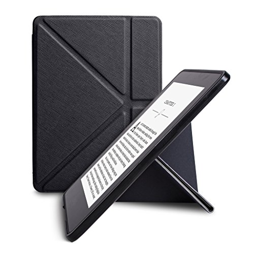 WALNEW New Origami Case Cover for Amazon Kindle Voyage (November 2014) - Full device protection with PU Leather and Smart Auto Sleep Wake function(kindle Voyage(Origami cover),Black), [Importado de UK]