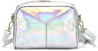 IOOOFU Damen Umhängetaschen Leder Holographische Abendhandtaschen Umhängetasche