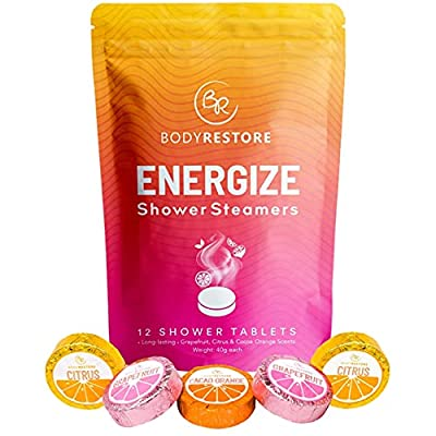 BodyRestore Shower Steamers (Pack of 12) Gifts for Women and Men - Grapefruit, Cocoa Orange & Citrus Essential Oil Scented Aromatherapy Shower Bomb, Morning Boost Shower Tablets from Body Restore