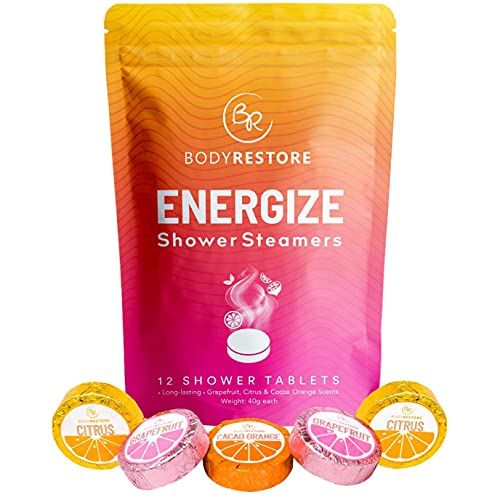 BodyRestore Shower Steamers (Pack of 12) Gifts for Women and Men - Grapefruit, Cocoa Orange & Citrus Essential Oil Scented Aromatherapy Shower Bomb, Morning Boost Shower Tablets