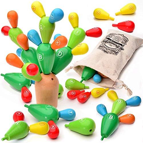 AGREATLIFE Balance Kaktus Montessori Holz für Kinder - Spiele ab 4 - Feinmotorik Förderung Kinder - Lernspiel Jungen und Mädchen - Geschicklichkeitsspiel Holzspielzeug 24-teilig mit Beutel