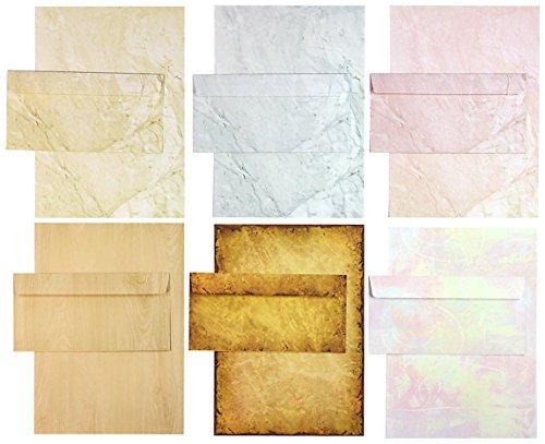 TATMOTIVE Briefpapier Set - Mix Marmor-Papier marmoriert - 6 Motive je 5 Blätter und je 5 Briefumschläge