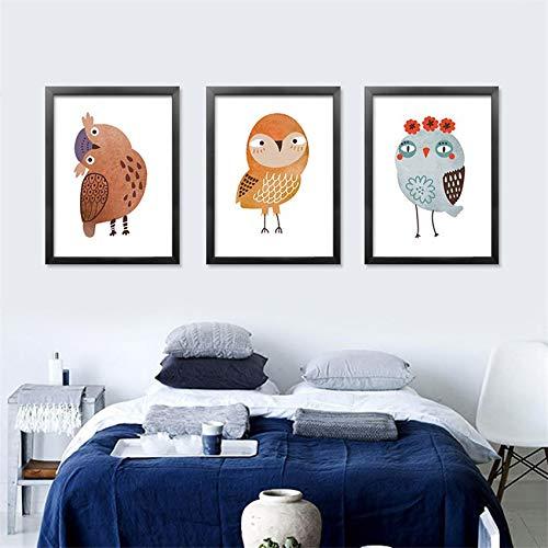 Nette Eule Adler Finch Cartoon Schöne Vogel Tier Poster Kinderzimmer Kinderzimmer Wohnkultur Zimmer Wohnzimmer Wandkunst Leinwand Malerei 50 * 70cm