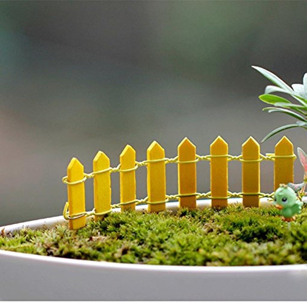 フィッティング蒸留するバウンドJicorzo - 20個DIY木製の小さなフェンスモステラリウム植木鉢工芸ミニおもちゃフェアリーガーデンミニチュア[イエロー]