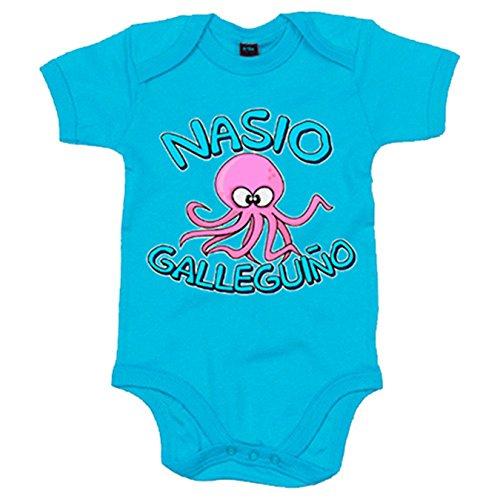 Body bebé Nacido galleguiño gallego nacido en Galicia - Celeste, 12-18 meses
