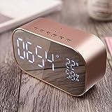 Queta Réveil numérique Miroir avec Haut-Parleur Bluetooth, réveil Lumineux avec...