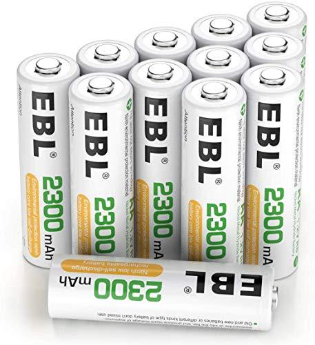 EBL 1.2V AA Batterie Ricaricabili Ad Alta Capacità,Pile Ricaricabili da 2300mAh Ni-MH con Astuccio Ricarica da 1200 volte,Confezione da 12 pezzi