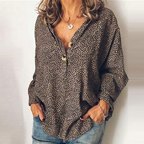Damen Mode Leopard Grain Gedruckt V-Ausschnitt Beiläufig Langarm Bluse Tops