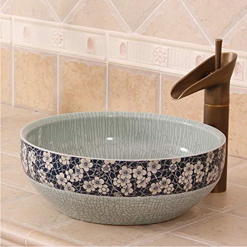 LLLYZZ Blauen und weißen EIS Pflaume riss China Künstlerische Handarbeit Rund Zähler Oben sanitär-Keramik waschen waschbecken Schalen Becken