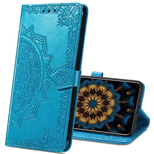 MRSTER Motorola One Zoom Hülle, Premium Leder Tasche Flip Wallet Hülle [Standfunktion] [Kartenfächern] PU-Leder Schutzhülle Brieftasche Handyhülle für Motorola One Zoom. SD Mandala Blue