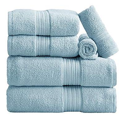 6-Piece Towel Set. 100% Cotton Bathroom Towels. Absorbent Quick-Dry Plush Towels. Set Includes 2 Bath, 2 Hand, and 2 Wash. (6 Piece Set, Spa Blue)