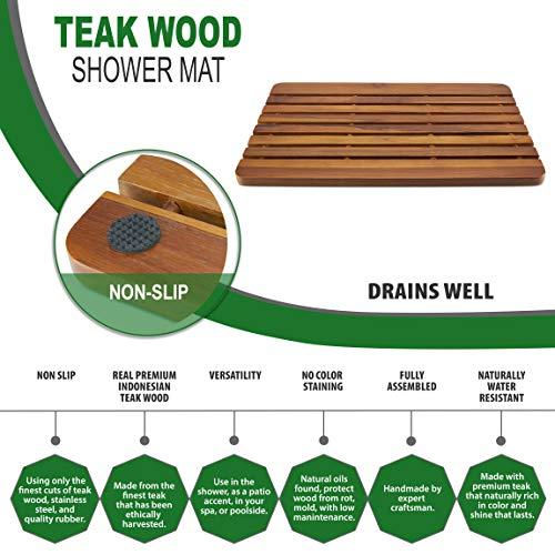 TeakCraft Teak Shower Mat, 23 Inch Non-Sliding Sauna, Spa, Bath Mat, The Troy