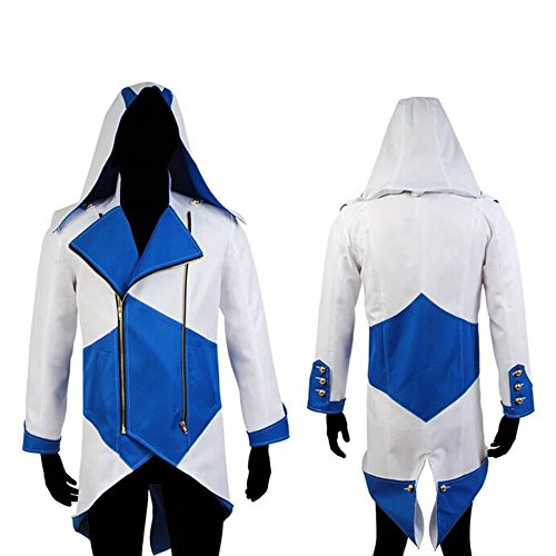 Chaqueta con capucha Rulercosplay para disfraz de Connor Kenway de Assassins's Creed III, de algodón Azul Y Blanco 3X-Large