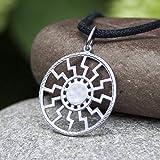 Black Sun Necklace Sonnenrad Pendant 925 Sterling Silver/Pagan Sun Wheel/Sacred Occult Symbol/Kolovrat Warrior Talisman Nordic Viking Jewelry Gifts for Men Women/Handmade