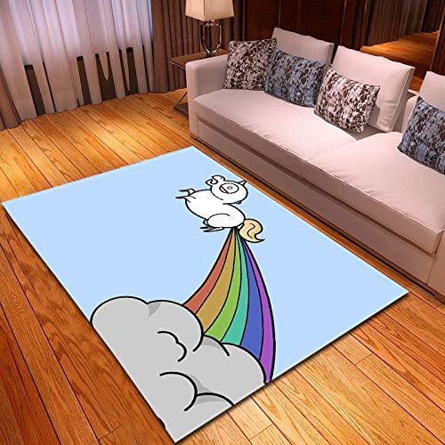 QWFDAQ alfombras Baratas Unicornio Arco Iris Creativo Blanco Azul Claro alfombras 120...