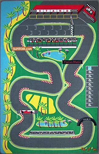 TAPITOM® | Tapis Enfant Circuit Voiture de Course - 130 x 200 cm | Grand Tapis de Jeux avec Route de F1 | Tapis de Sol pour Chambre d'enfant Univers décoration Circuit F1 | antidérapant, Ourlet……