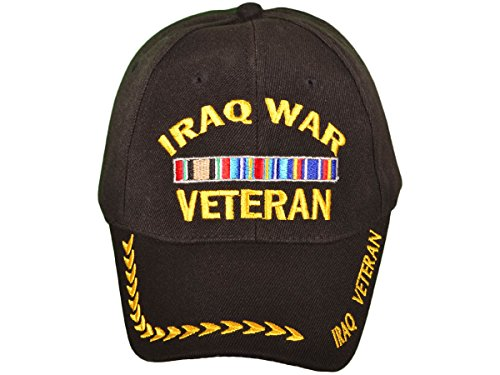 Iraq War Veteran Military Style Baseball Cap Hat Black with Logo Embroidery, Adjustable