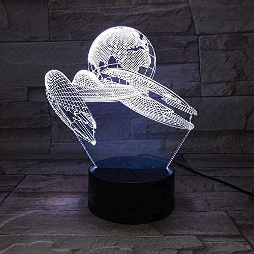 3D Night Light for Boys Bike Lights led 3D Lamp Space Ship Touch Table Lamp 7 Colors Changing Desk Lamp 3D Lamp Novelty Led Night Lights USB Light with Remote Control