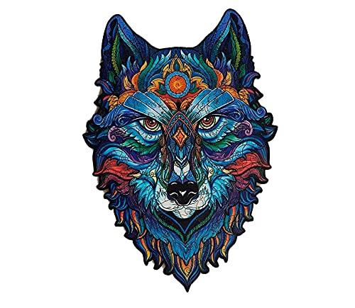 Rompecabezas de Madera | Rompecabezas de Animales de Madera de Lobo de Forma única | Puzzle Animales para Adultos (Lobo)