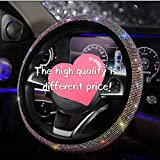 Diamond Crystal Steering wheel Cover for Women - Universal automotive diamond car accessories, Bling Bling Crystal Rhinestone Steering Wheel Cover for Girls Birthday Gifts Color diamond 15 Inch (38mm)