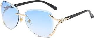 Women Shades Rimless Sunglasses Bling Frame Round Lens...