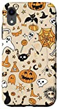 iPhone XR Pumpkins Pattern Halloween Black Cat Bats Candy Skulls Corn Case