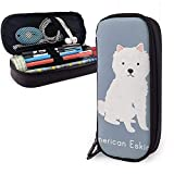 Estuche de lápices Lindo perro esquimal americano Bolsas de almacenamiento de bolsa de cuero de PU Bolsas de lápices portátiles Bolsas con cremallera