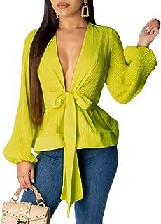 Xibulin Women's Solid Color V-Neck Lantern Sleeve Casual Tie Front Ruffle Swing Peplum Blouse Tops