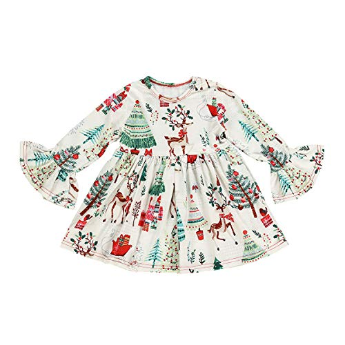 Toddler Baby Girls Christmas Outfit Kid, Kid Girls Cartoon Xmas Dress, Size 5T -