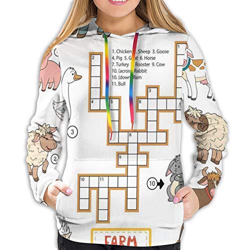 Sudadera con capucha para mujer, crucigramas, rompecabezas educativo para niños con diferentes animales de granja y números, sudadera casual de moda para mujer