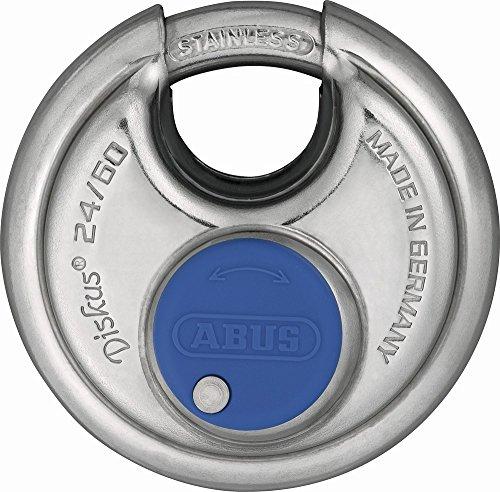 ABUS Diskus® Vorhängeschloss 24IB/60 aus Edelstahl - mit 360° Rundumschutz - zur Sicherung bei starken Witterungseinflüssen - 05633 - Level 7 - Silber/Blau