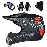 LWAJ Casco de MTB de cara completa, casco de motocicleta de motocross para adultos con gafas máscara de guantes para descenso fuera de carretera Quad Bike Protección Gear DOT certificación (s-xl)