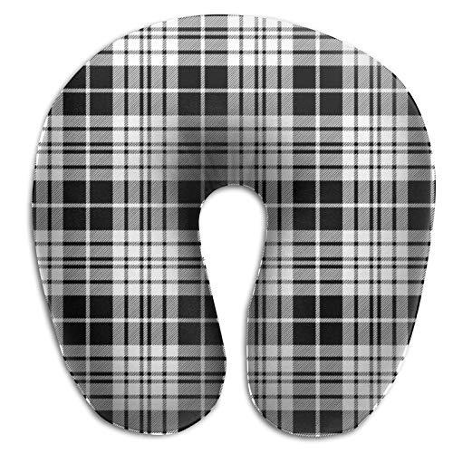 Almohada de viaje Blackberry Clan Tartan Diagonal Black White - Espuma viscoelástica, almohada de soporte para el cuello para viajes en avión. Almohada suave y cómoda para automóvil, autobús, tren o v