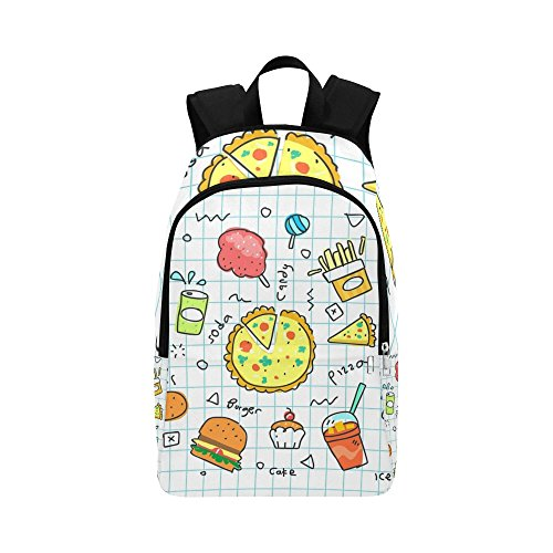 Colorful Doodle Soda Cartoon Set Fries Fast Eat Casual Daypack Travel Bag College School Backpack for Mens and Women
