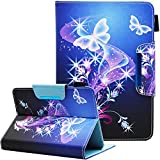 Nannxiebky Universal Case for 6.5 - 7.5 Inch Tablet, Universal 7 inch Tablet case, Multi-Angle Viewing Stand Wallet Leather Case Cover for 7 Inch Android Tablet, Butterfly
