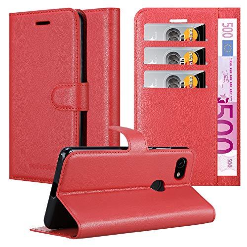 Cadorabo Hülle für Google Pixel 3a in Karmin ROT - Handyhülle mit Magnetverschluss, Standfunktion & Kartenfach - Hülle Cover Schutzhülle Etui Tasche Book Klapp Style