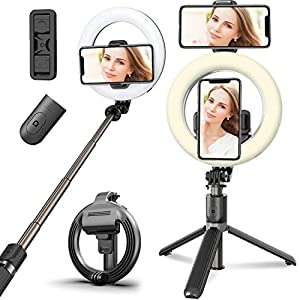 Selfie Ring Light Tripod for Phone,Ring Light Tripod Bluetooth Selfie Stick Stand Cell Phone Holder for Live Stream/Makeup/Photography Compatible with iPhone Android (Warm Light)