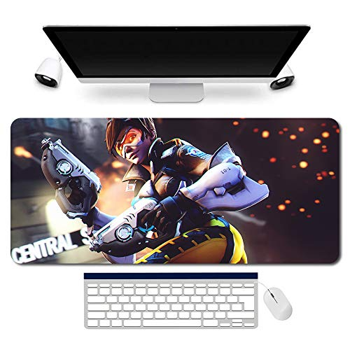 704213de - OW/Overwatch Mauspad Gaming Mousepad für PC Wars Gaming Large Table Mats (35.4×15.7 in / 90x40 cm) Support Customized,Extended Overwatch Mouse Mats Non-Slip Desk Pads genji Jesse·Mccree