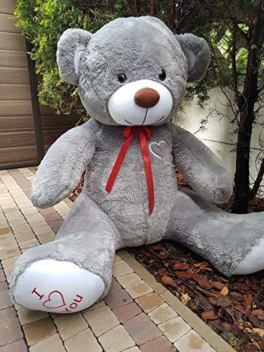 Odolplusz Teddy | Größe XXXL | 190cm | Farbe Grau-Weiss | Allergiker geeignet | Teddybär Kuscheltier Stofftier Plüschbär Plüschtier Teddi