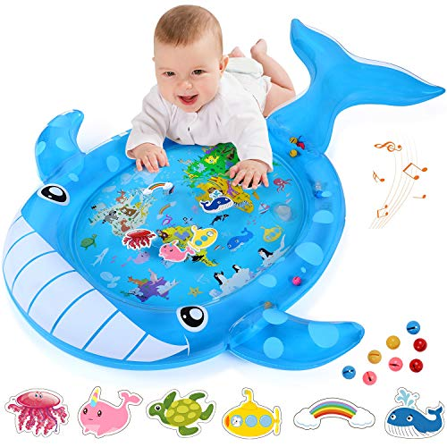 YOUTHTOUCH Tummy Time Water Play Mat Sensory Toys for 3 6 9 Months Babies & Infants Newborn Girls Boys Early Development Activity Centers(Whale)