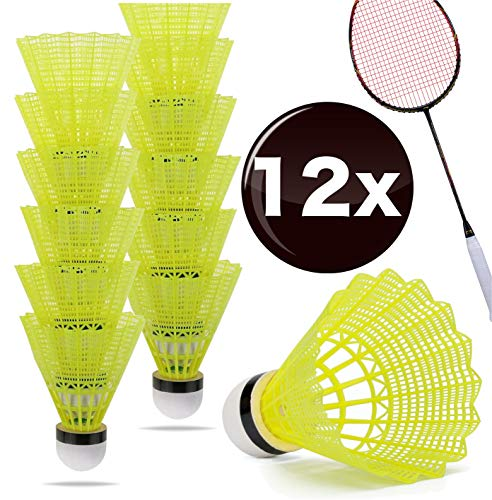 TK Gruppe Timo Klingler 12x Federbälle gelb Badmintonbälle für Training & Wettkampf Badminton - Feder Ball/Bälle Federball für Outdoor & Indoor