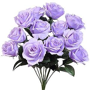 "Silk Flower Arrangements 4"" Bouquets, 12 Large Open Roses Silk Wedding Artificial Flowers"