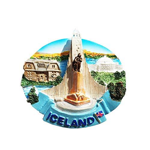 Hallgrimskirkja Reykjavik Islandia Imán de Nevera 3D Resina de la Ciudad de Viaje Recuerdo Colección de Regalo Fuerte Etiqueta Engomada refrigerador