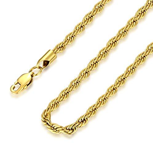 FOSIR 4mm Herren Halskette Kordelkette Seilkette Edelstahl Goldfarben (Länge 45-75cm)